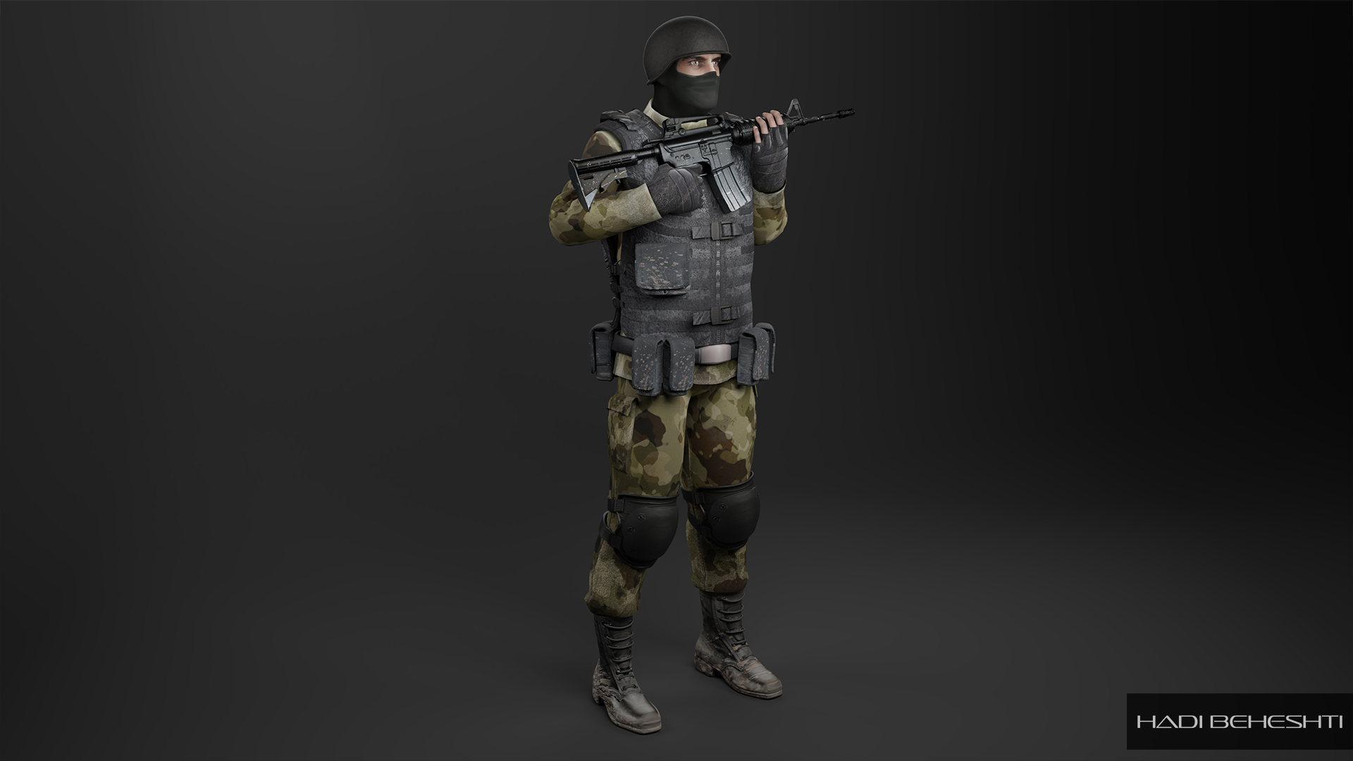 3d Modeling-Texturing-Soldier_PS_Hadi Beheshti CG Artist_1