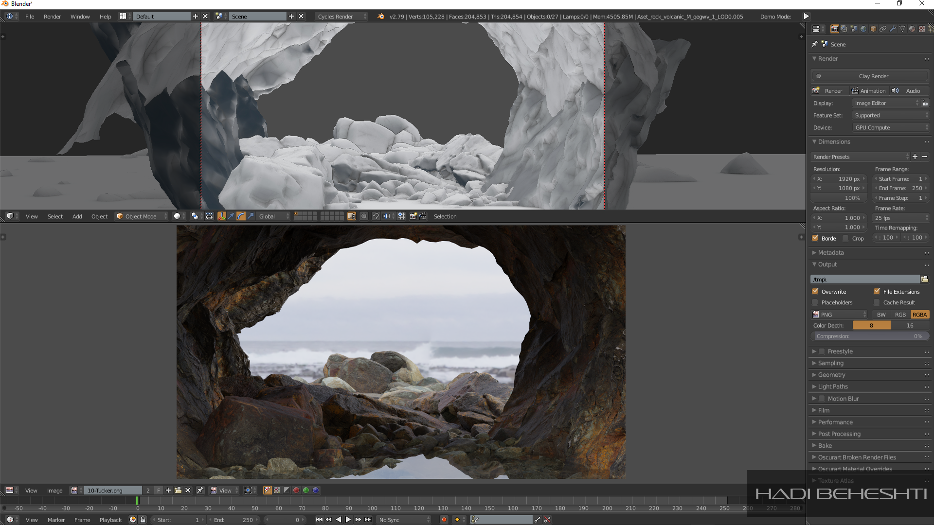 Rocks on the beach-1-Environment-Blender-B3d-Rendering-Cycles Render Engine-Hadi Beheshti