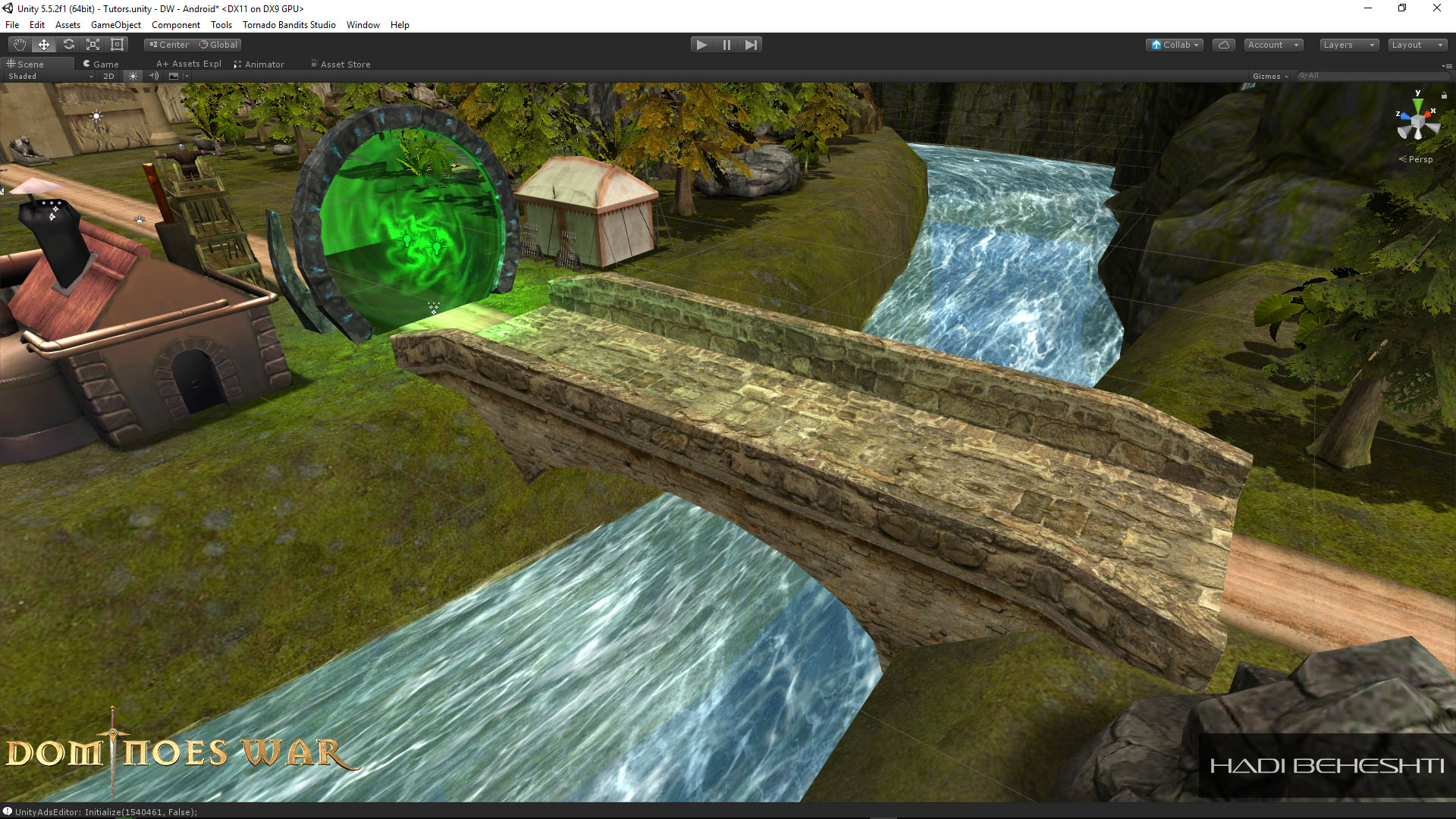 Modeling, Particles, UV set, Texturing, UV animation for River.